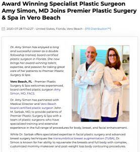 Dr. Amy Simon Joins the Team at Premier Plastic Surgery & Spa in Vero Beach FL